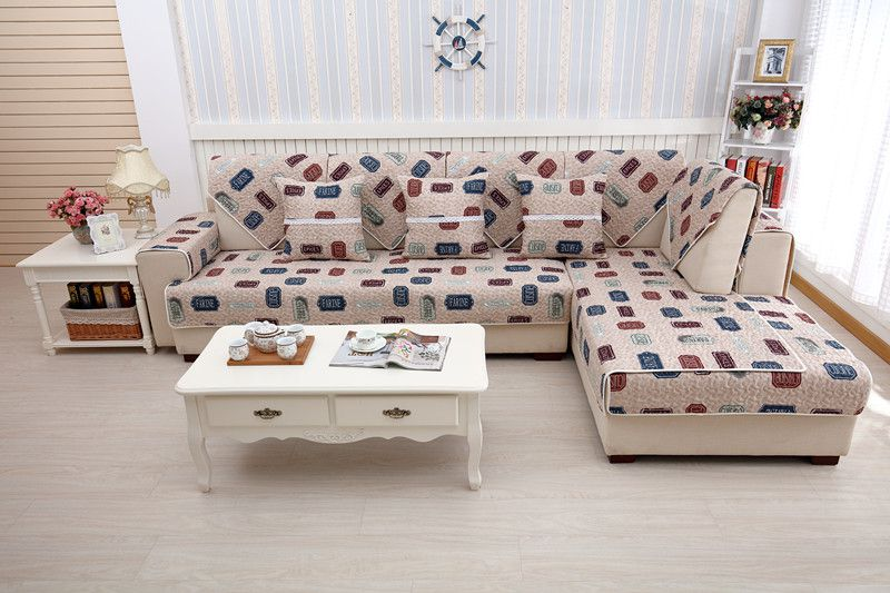 2018 new kind hot sale 100%cotton letter printing skidproof quliting for four seasons of sectional sofa cover set