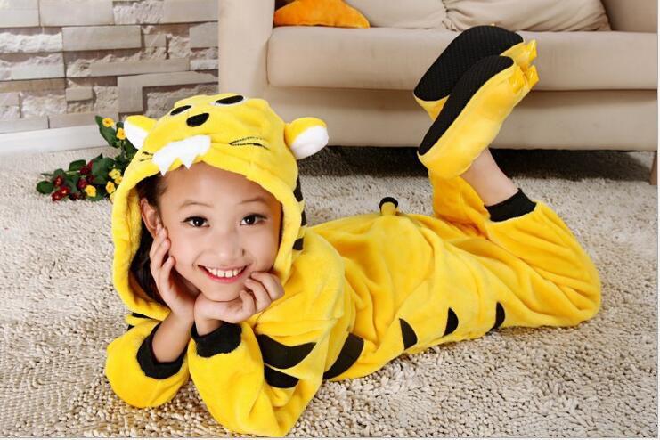 Baby Boys Girls Pajamas Autumn Winter Children Flannel Animal funny animal Stitch Tiger Pajamas Kid Onesie Sleepwear KD-006