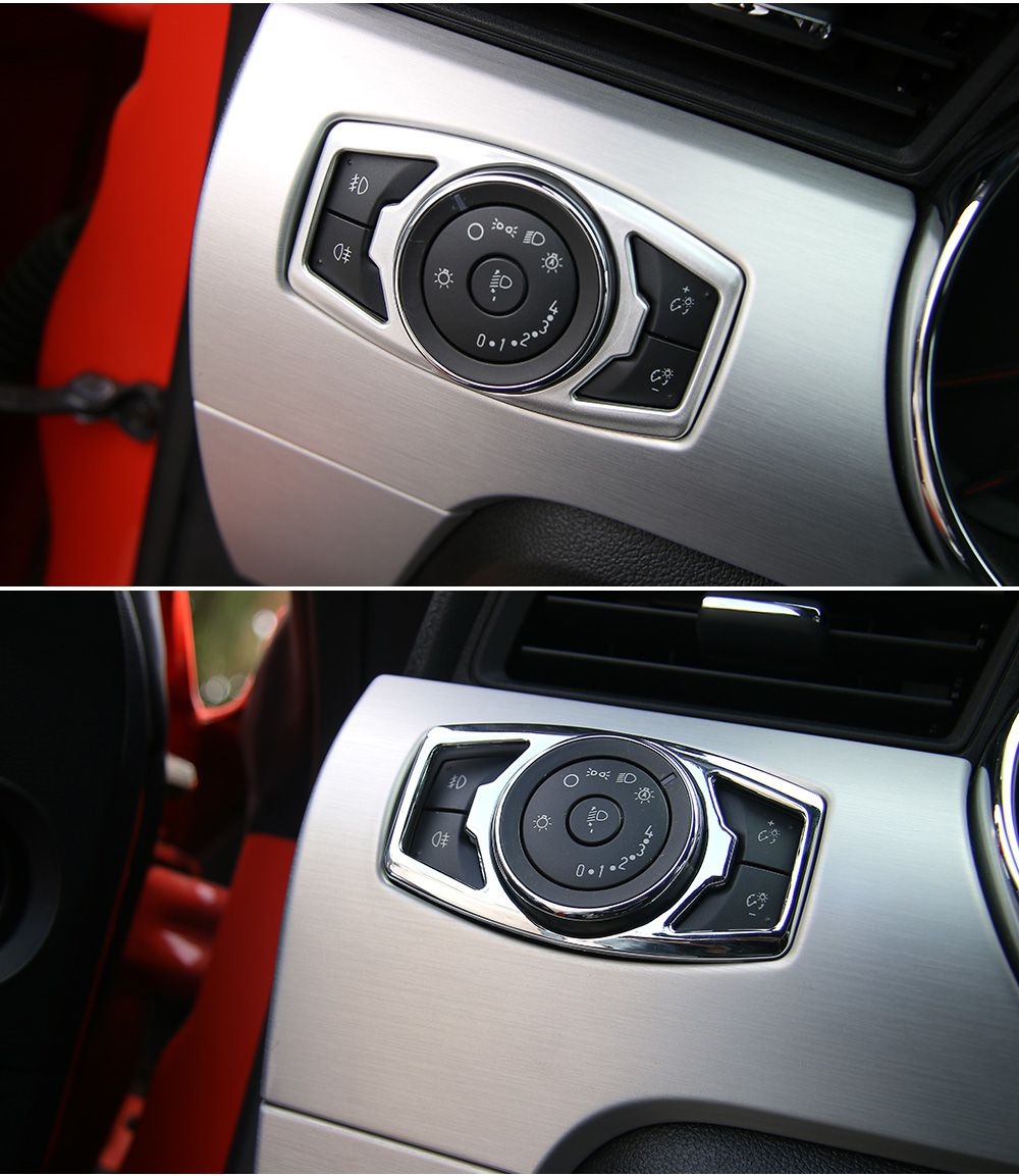 High Quality Car Headlamps HeadLights Switch Decoration Cover Trim Fit For Ford Mustang 2015-2016 Interior Accessories Styling