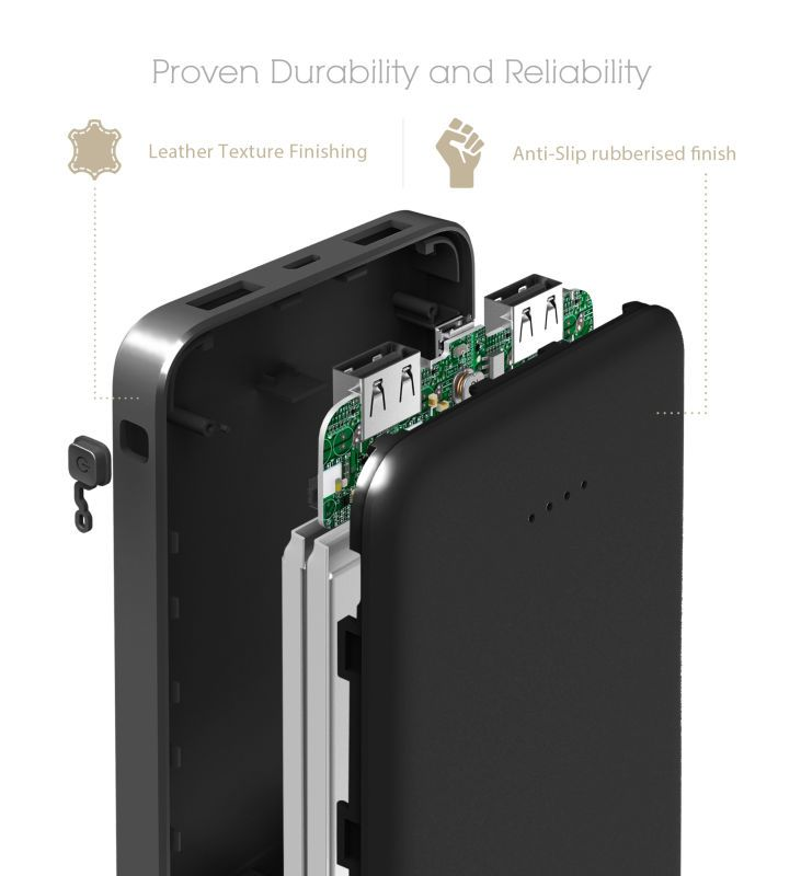 Andino PowerSLIM 10000mAh Ultra Light & Compact portable battery pack external charger power bank for mobile phone free shipping