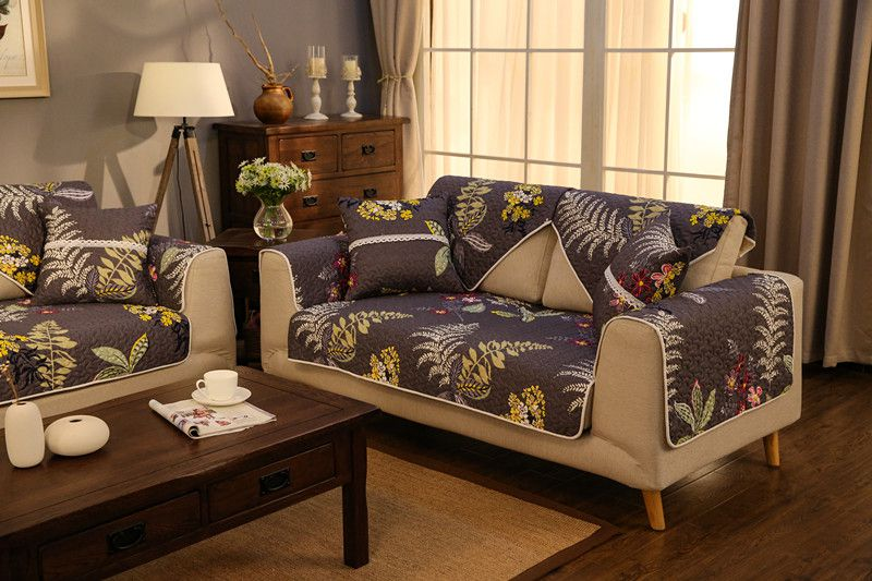 2018 new kind Original Brand high range 100%cotton skidproof four seasons of sofa cover set