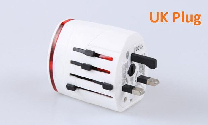 Universal Travel Socket Plug Adapter/ Dual-USB Charger 5V-1A or 5V-2.1A