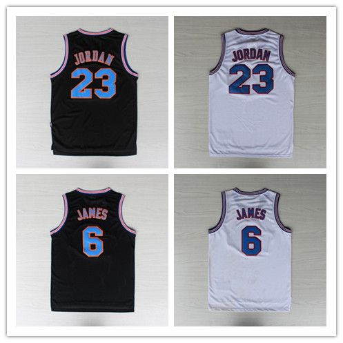 2ad2f0b55f42 Space Jam Jersey Michael Jordan 23 Lebron James 6 Tune Squad Basketball  jersey White Black LOONEY