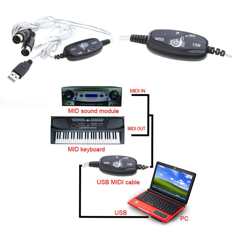 Brand New USB MIDI Cable Converter PC to Music Keyboard Adapter C929