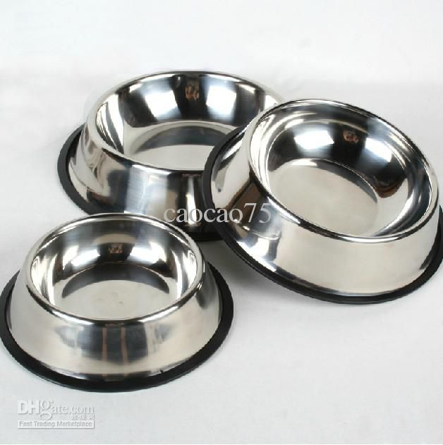 Stainless Steel Bowl Feeding Dish NON-Skid Travel Dog Cat Food Water Bowls 10pcs/lot Free shipping