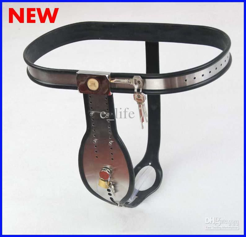 New locks Stlye Male Fully Adjustable Model-T Stainless Steel Chastity Belt With plastic catheter