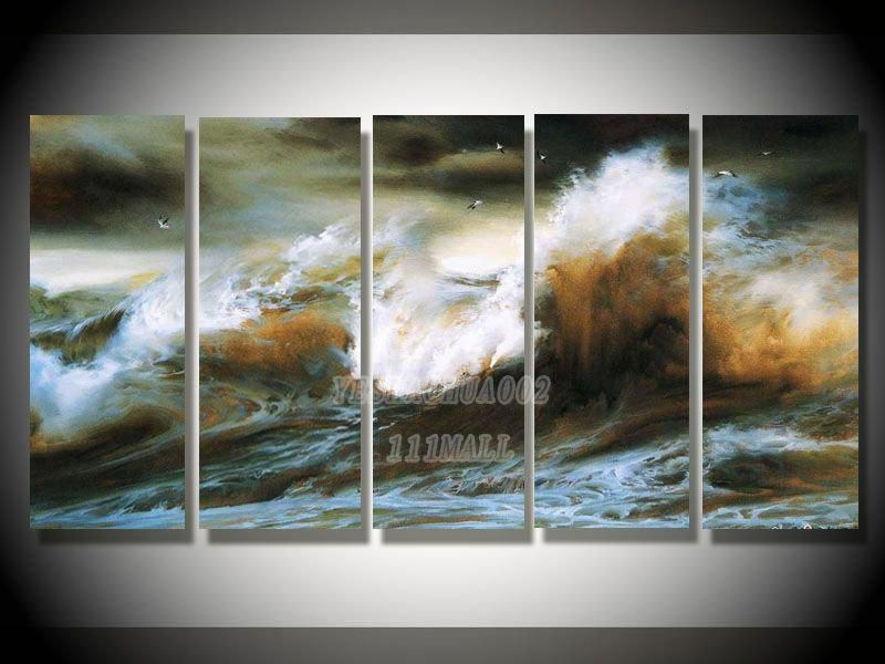 oil paintings canvas abstract wall art Oil Painting Natural scenery 5pcs/ set POP Modern home decoration art free shipping C191
