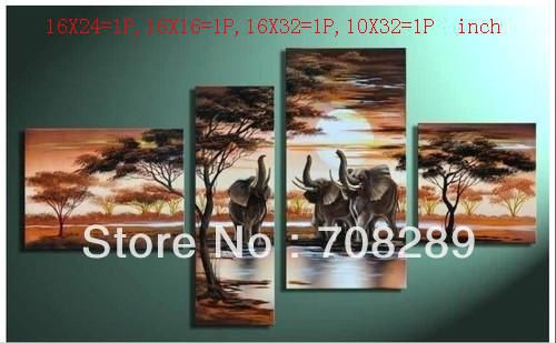 Elephants sunset sunrise oil paintings on canvas home decoration Modern abstract Oil Painting wall art B246