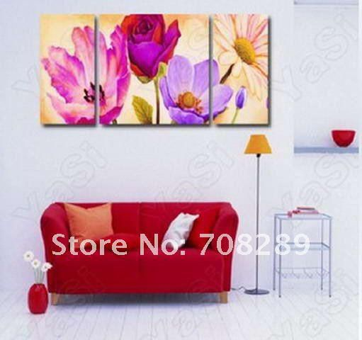 oil painting on canvas art home decoration modern abstract wall art oil paintings golden FLOWERS 3pcs frameless living room A343
