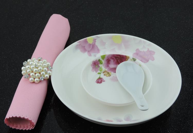 Free Shipping Pearls Rhinestone Napkin Rings Hotel Wedding Accessories wholesale R354
