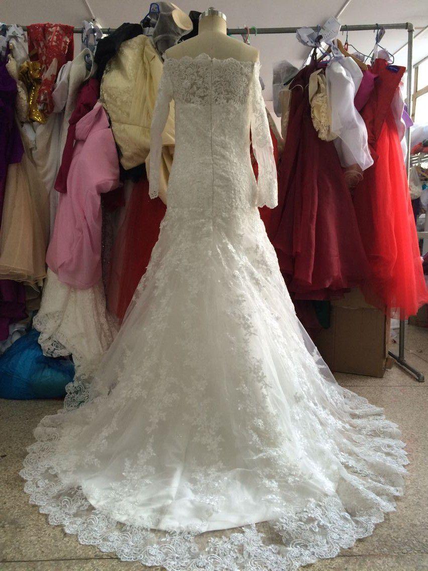 Amazing Real Photo Mermaid Boat Neck Long Sleeves Appliques Floor Length Wedding Dresses Bridal Gown Bride