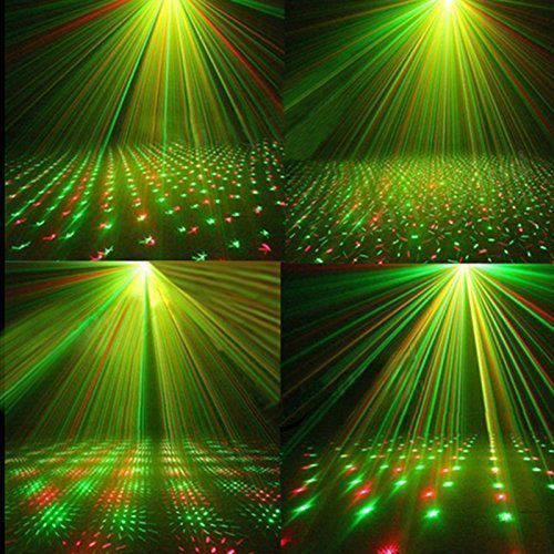 Remote Control Mini R&G Twinkling Laser LED Stage Lighting Projector Voice-activated Spotlight Equipment with Stroboflash for DJ Disco Club