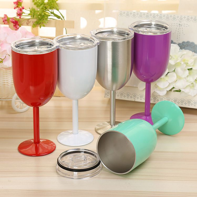 True North 9 color Stainless Steel Double Walled Wine Glass With Lid 10oz Insulated tumbler Red Wine Mugs