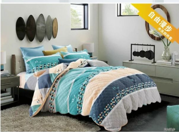 2018hot sale new style 100%cotton comfortable and fashion bedding quiliting four-piece of bed sheet