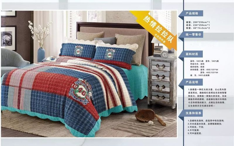 2018 latest new style 100%cotton soft printed four-piece of bed cover