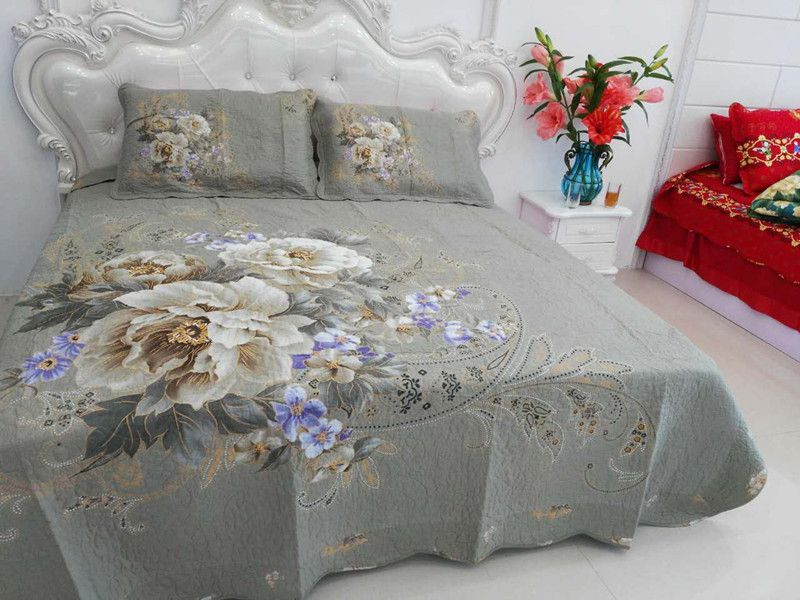 2018 whole colored 100%cotton damask modern printed four-piece of bed cover
