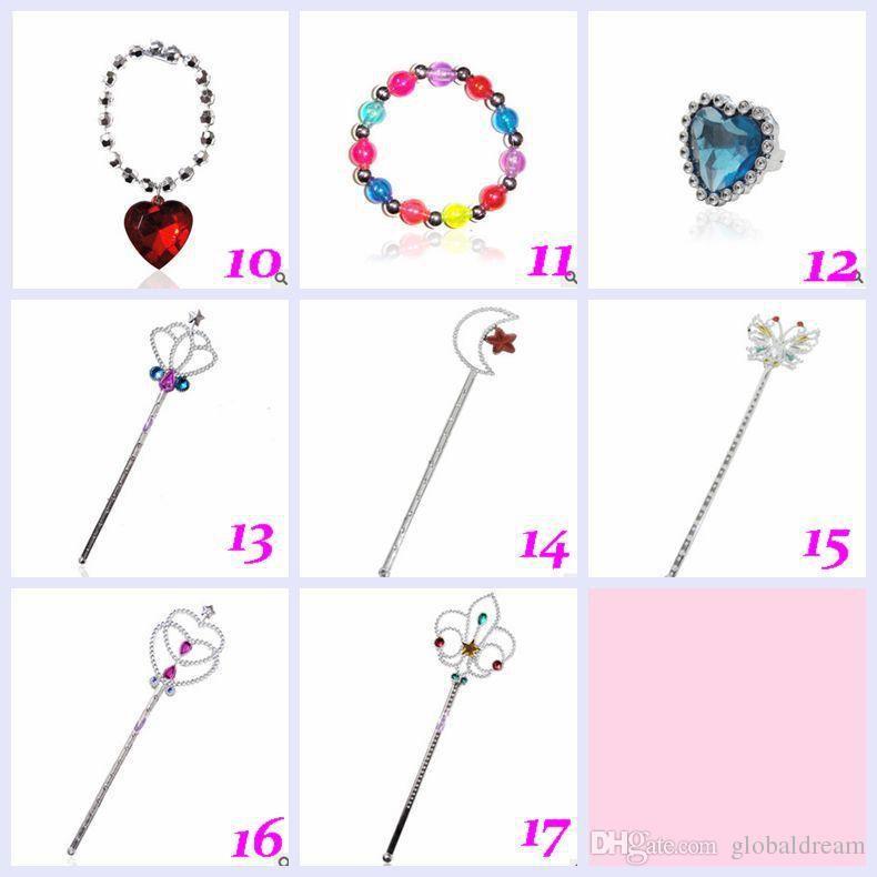 Newes tZorn Store-Frozen Crown Magic Wand Necklaces Bracelets Earrings Barrette Snow Queen Elsa Anna Princess Hair hoop Frozen TOPA9 100PCS