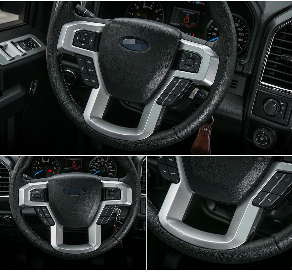 Large Steering Wheel Decoration Covers Trim Fit For Ford F150 2015+ High Quality Car Interior Accessories