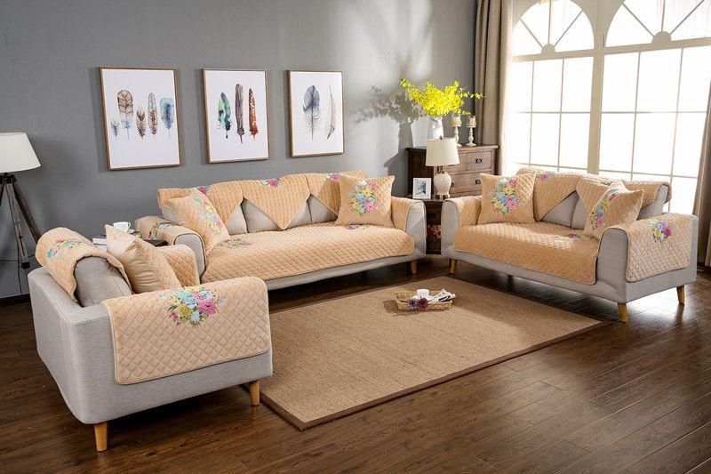2018 SUPRIEA short plush simply modern Thickening non-slip combination four seasons of sofa cover set