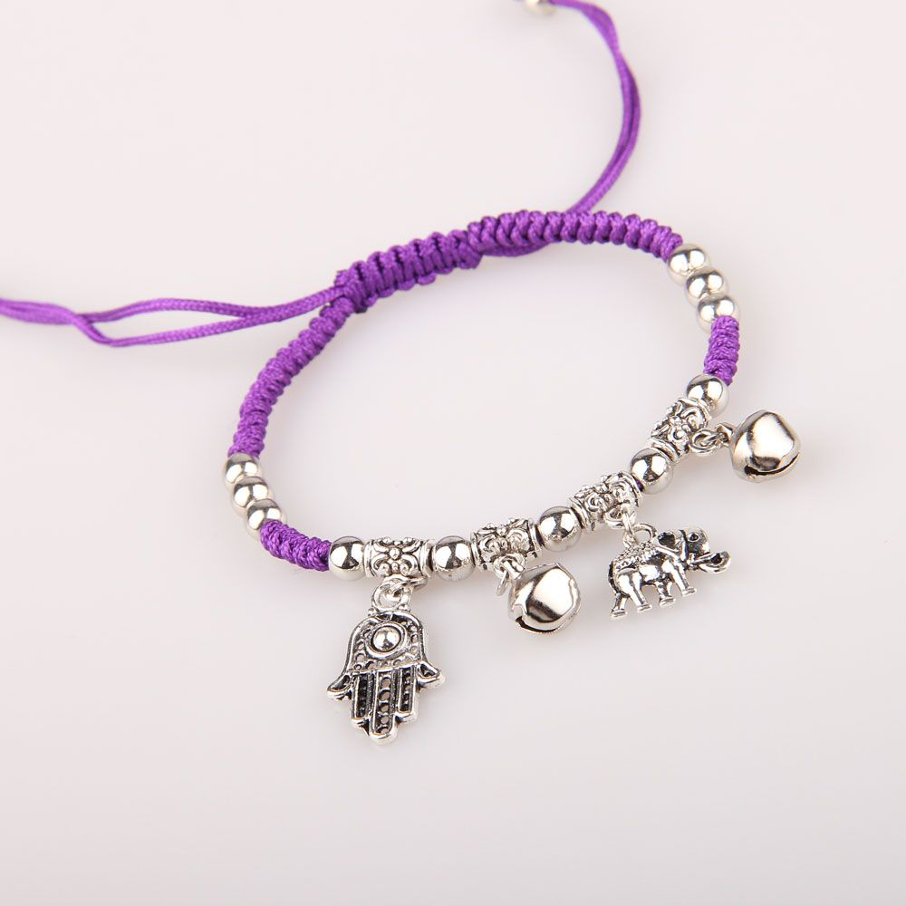 Bracelet for Unisex Multicolor Evil eye of Fatima Alloy Pendant Bracelet Korean fashion braided bracelet free shipping