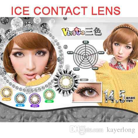 FREE SHIPPING sexy eye looks fresh 3tones soft contact lens yearly used ICE series 5 colors for mix