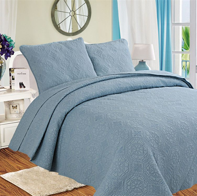 Hanxiangyiren Cotton Blue Quilted Solid Quilt Set 3 pcs Simple Style Home Textile Bedspread Coverle New Arrival