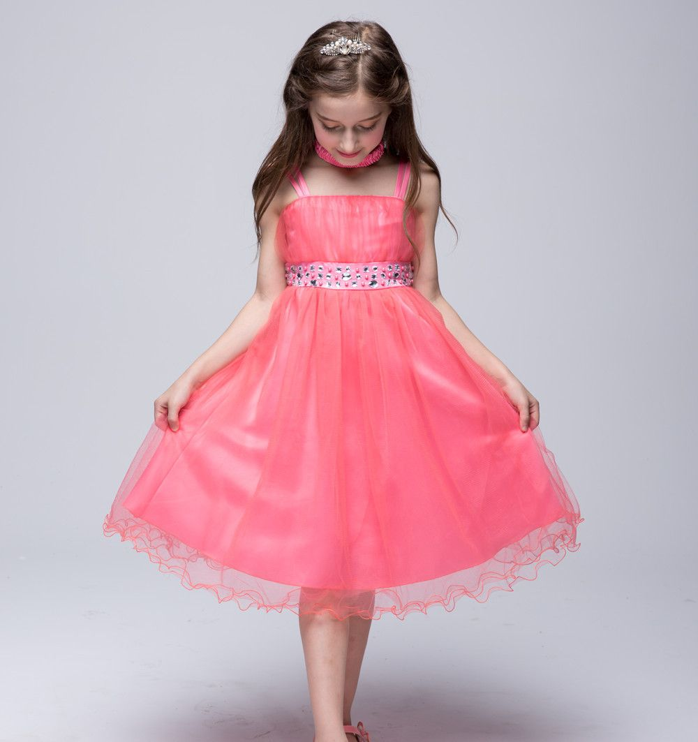 Princess Dresses for Teenagers Girls Sling Tutu Dresses Ball Gown Sleeveless Knee-Length Solid Color for 2-12 Year Kids