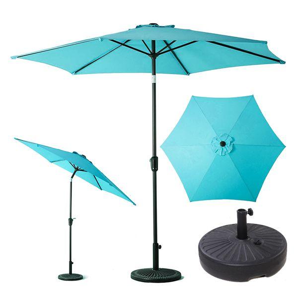 Garden Tent 2.7M Aluminum Patio Umbrella, UV Protective Beach Umbrella with Push Button Tilt and Crank, Powder Coated Outdoor Umbrella