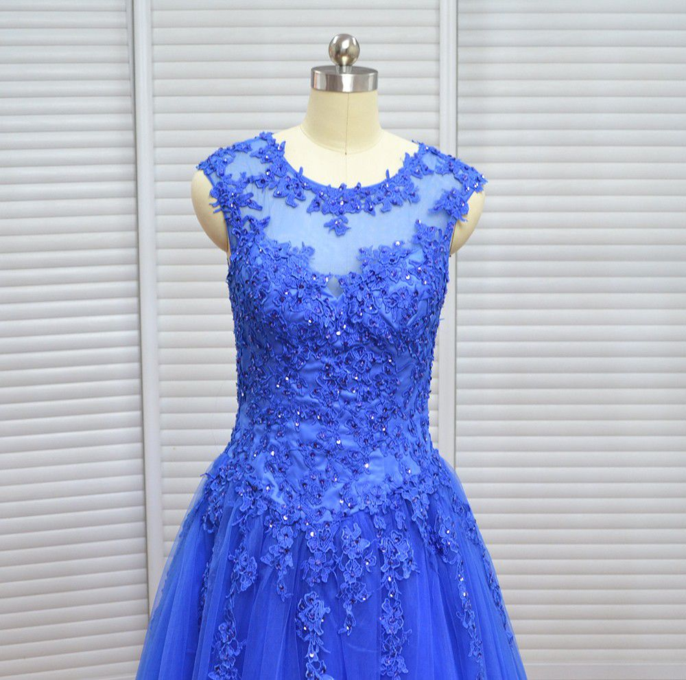 Real Photo Vinoprom Royal Blue Cap Sleeves Tulle Beaded High Quality ...