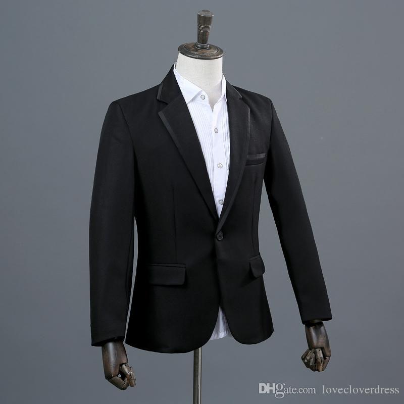 Black Jacket With Black Lapel Groom Tuxedos Groomsmen Blazer Wedding Clothing Prom Dress Suits (Jacket+Pants+Girdle+Bow Tie)