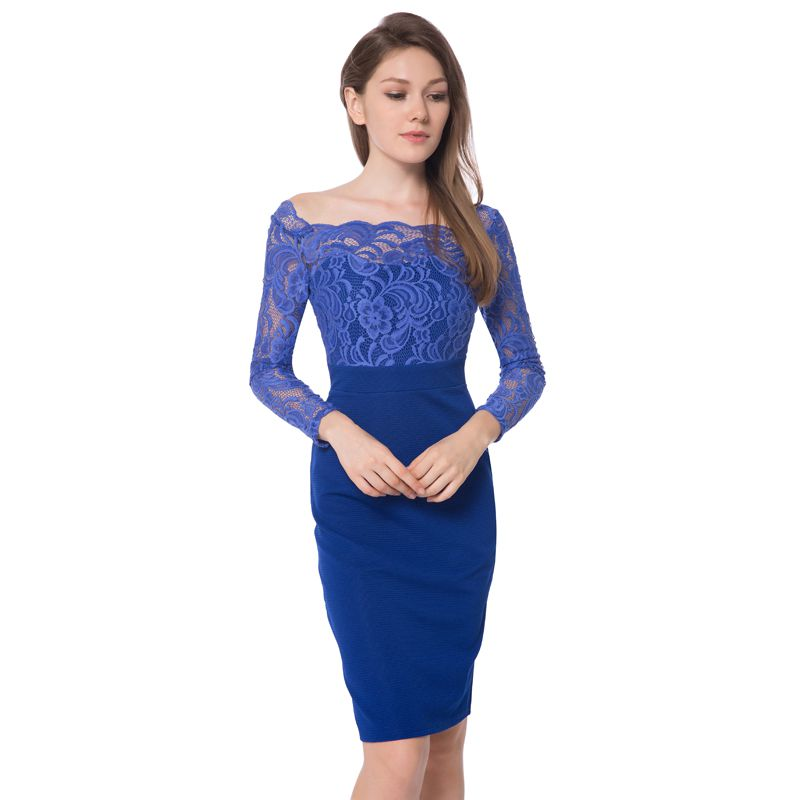 Elegant Womens Long Sleeves Slash Neck Sexy V-back Royal Blue Lace Patchwork Sheath Bodycon Cocktail Pencil Dresses Knee-Length