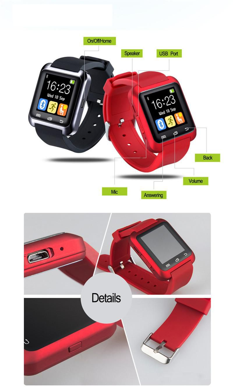 Bluetooth Smart Watch U80 for Apple iPhone 5 5S 6 Plus Samsung S5 S4 Huawei Android Phone Sport Silicone Watch