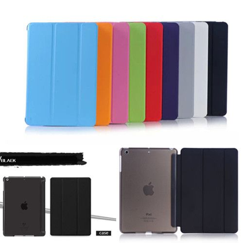 Slim Flip Smart 3 Fold Case Cover Transparent Clear Back Hard PC For Apple IpadAir Air2 With Smart Sleep Wake UP Stand Case