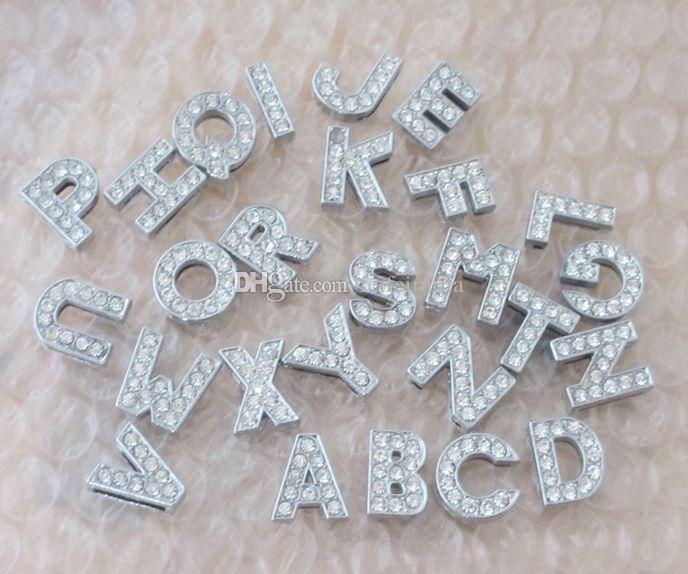 8mm rhinestone slide letter A-Z English alphabet diy charms fit 8mm Bracelets women Pet collars wholesale