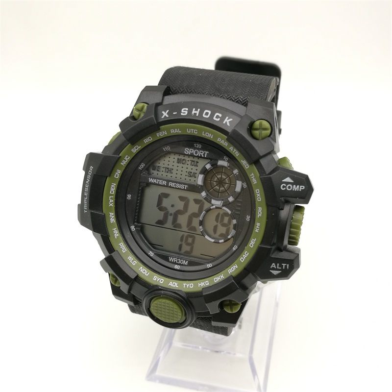 M619 LED Watch Digital Display Male PU Strap Watch Chronograph Multi-Function Watch Luxury Brand Factory Direct