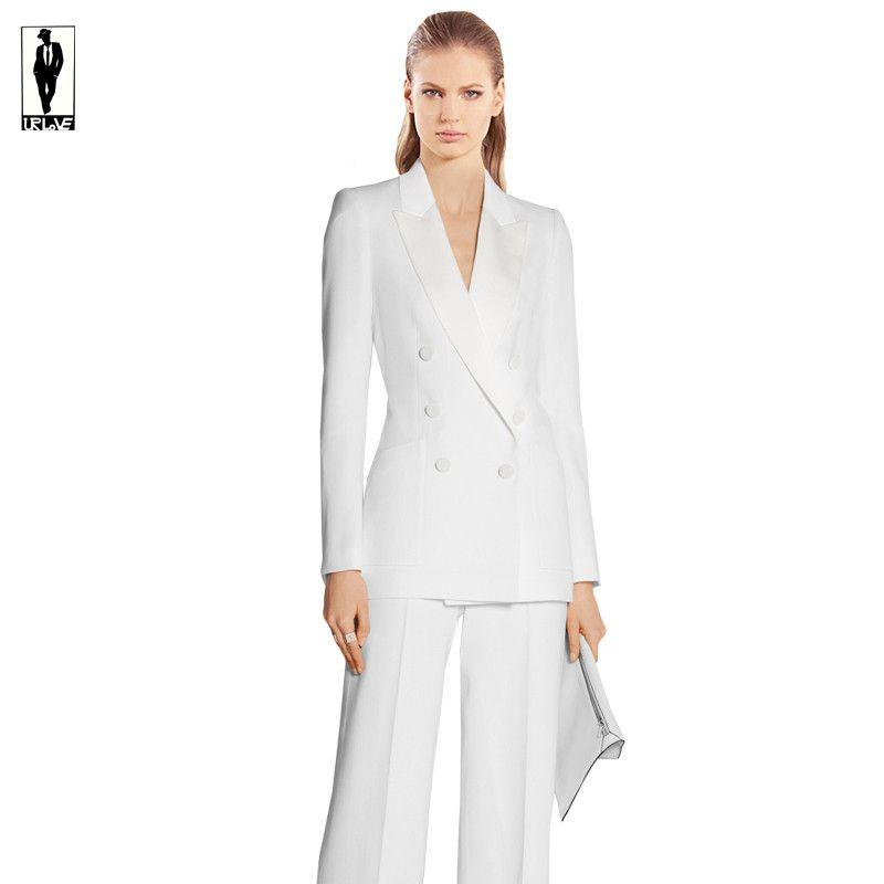 21fe8533e White Double Jacket Pants Office Uniform Bussiness Ladies Office Wear Suits  Formal El..