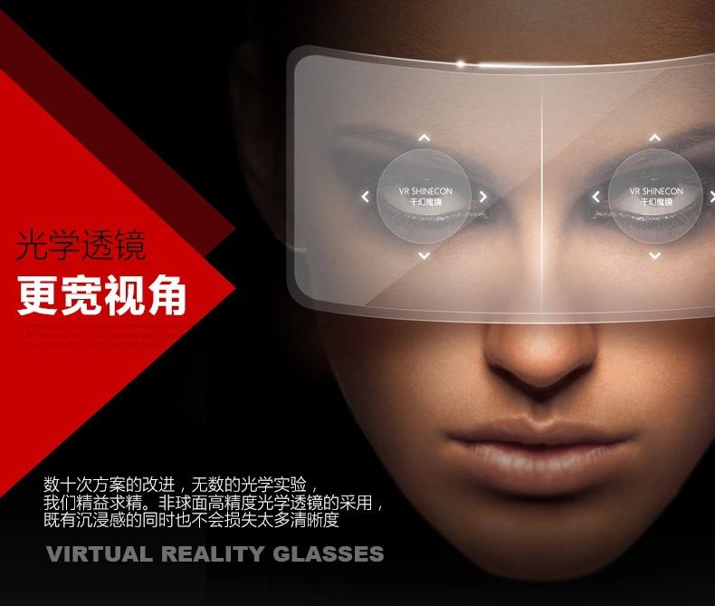 New 3D Glasses 3D Movies Games Head-mounted Virtual Reality VR With Resin Lens For iphone 6 6s 6 plus 6s plus Samsung Free Shipping