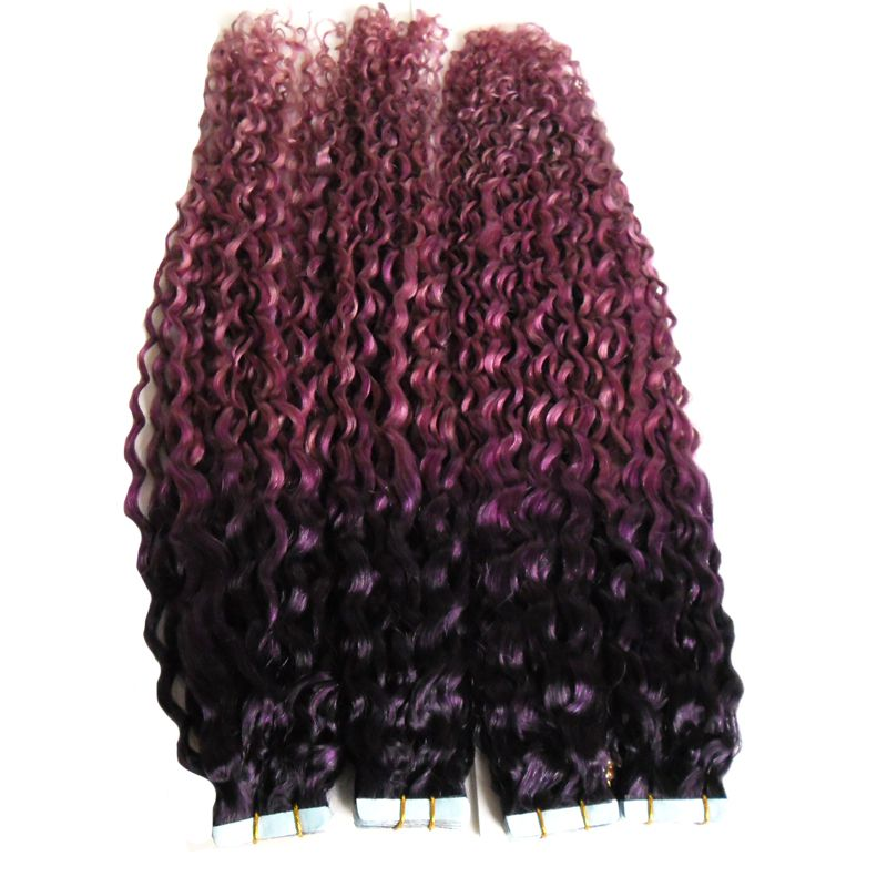 Kinky Curly Skin Weft Tape Extensions Purplepink Ombre Hair