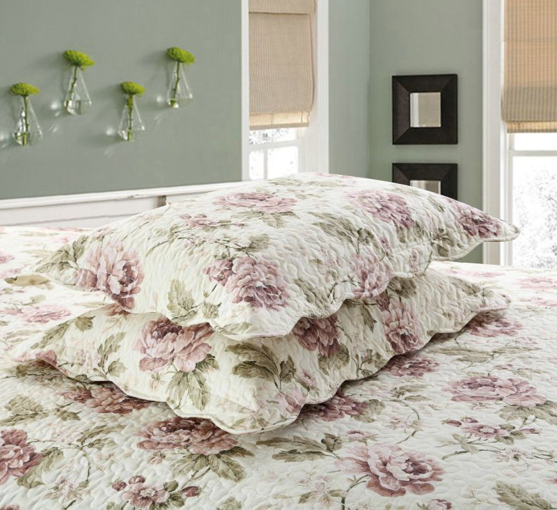 2018 new style 100%cotton print fashion peony quiliting trhree-piece of bed cover