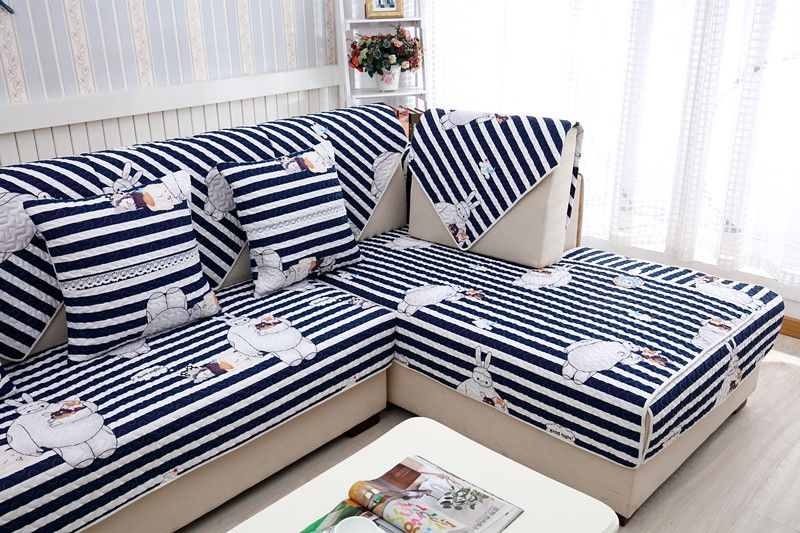 2018 new kind 100%cotton skidproof blue streak for four seasons of sofa cover