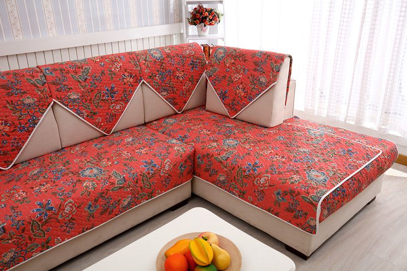 2018 SUPEIRA 100%cotton double red for four seasons of sofa cover set bay window cushion