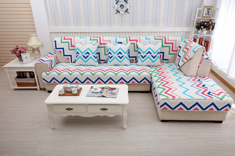 2018 new kind hot sale 100%cotton colorful ripples four seasons of sofa cover set