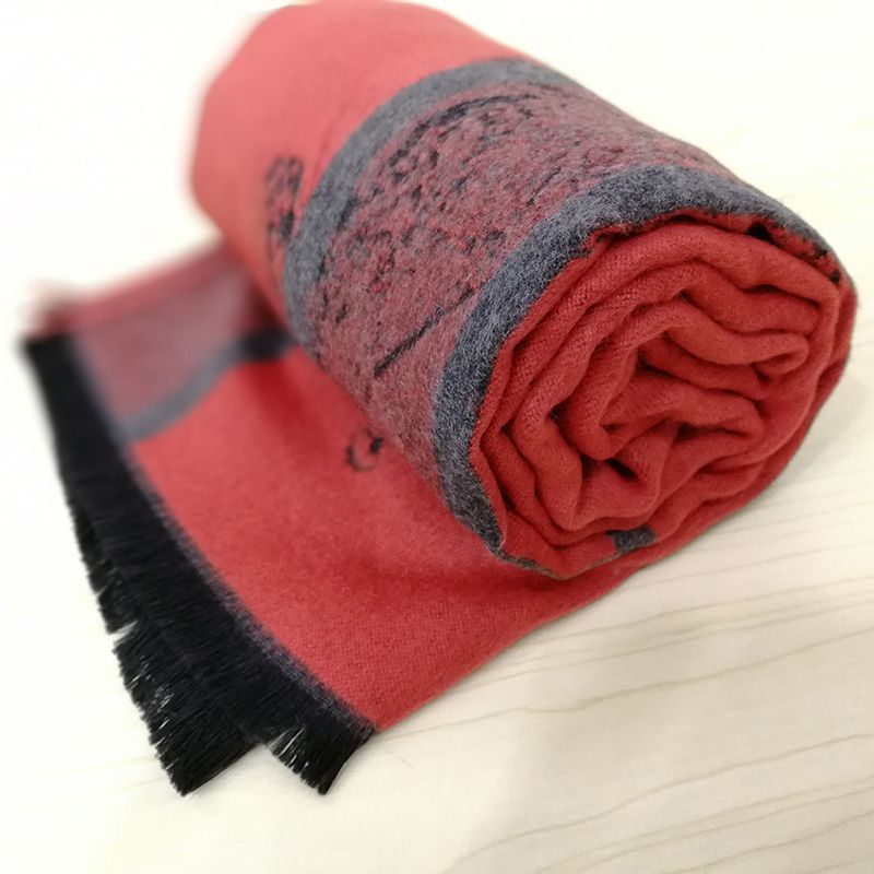 Men's autumn and winter new simple striped high-grade blended wool scarves
