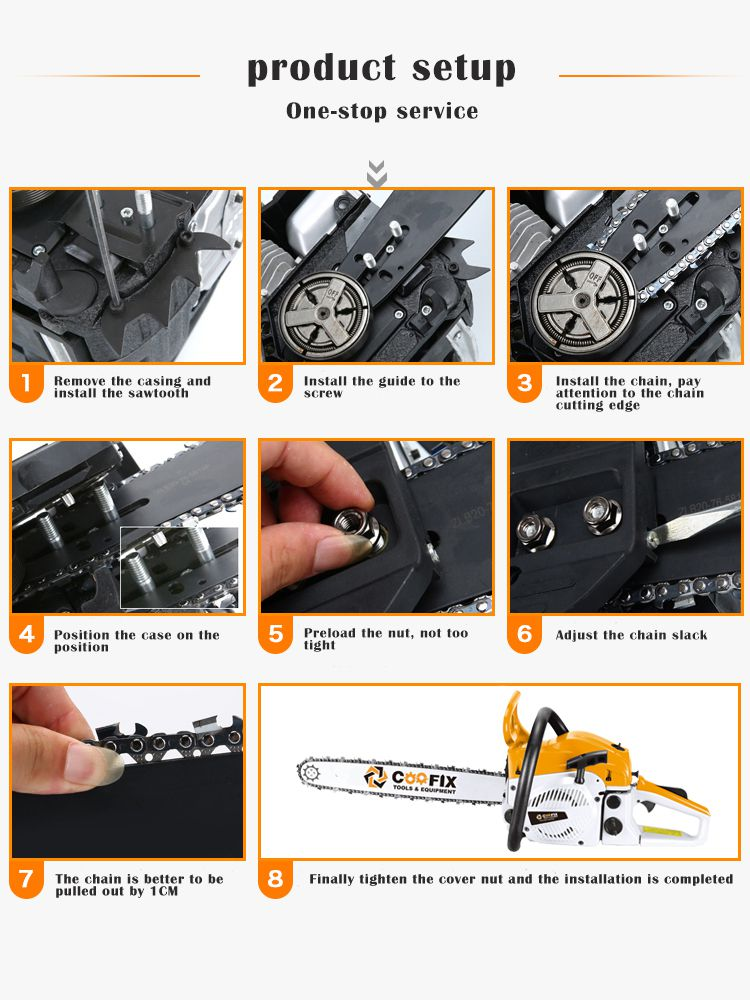 COOFIX CF-GCS001 58cc 2400W 3000r/min 20/22'' wood carvings garden Cutting Garden tools tree cutting power tools Gasoline Chain Saw