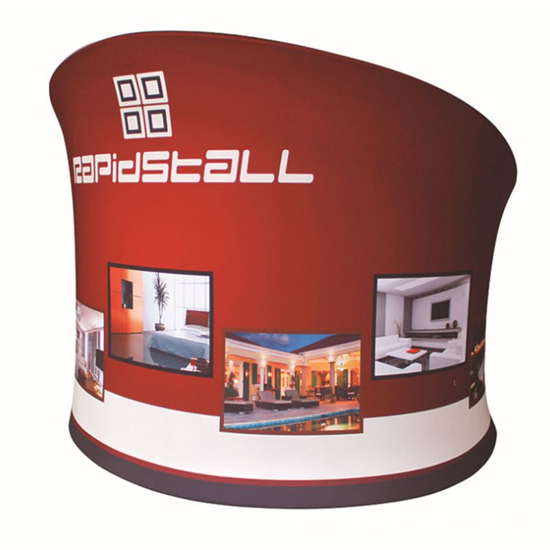 Semi-circle Wall Display Stand For Exhibition Show Reception with Single Tension Fabric Printing Portable Carry Bag