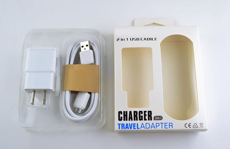 Wall Charger Home US EU Version Plug 2 in 1 Set Micro Usb Sync Cable Charger With Retail Box For Samsung Smart Phone