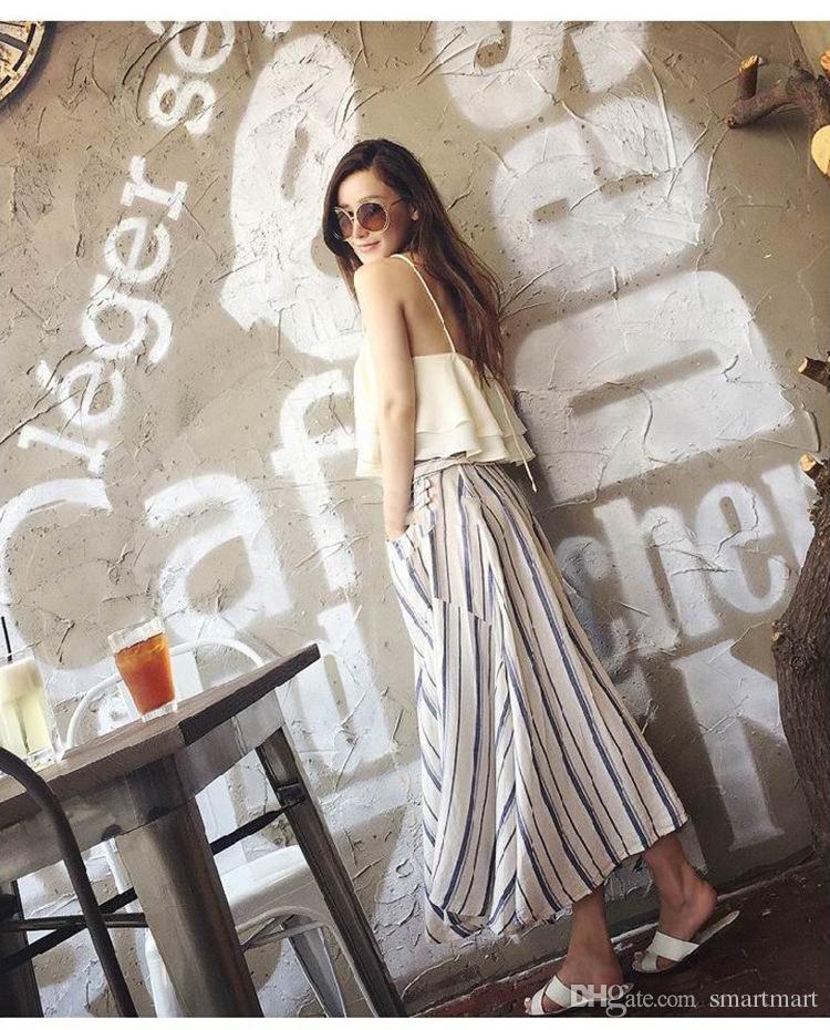 Women New Arrival Boho Halter Brace Ruffles Chiffon Tops + Stripes Maxi Pockets Skirts 2 pcs Sets Summer Fashion Casual Clothing