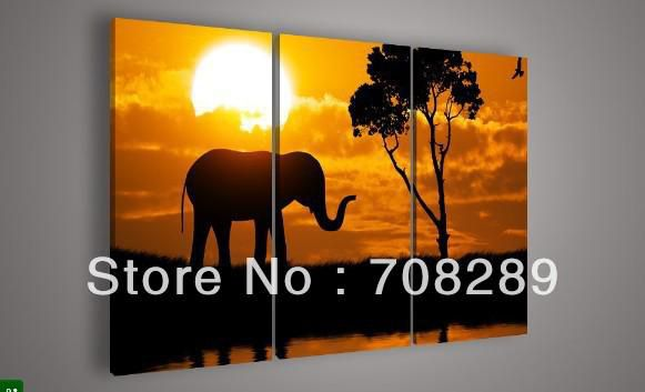 golden sunset sunrise elephant Animal art Oil paintings on canvas home decoration Modern Abstract Painting living room wall cc02