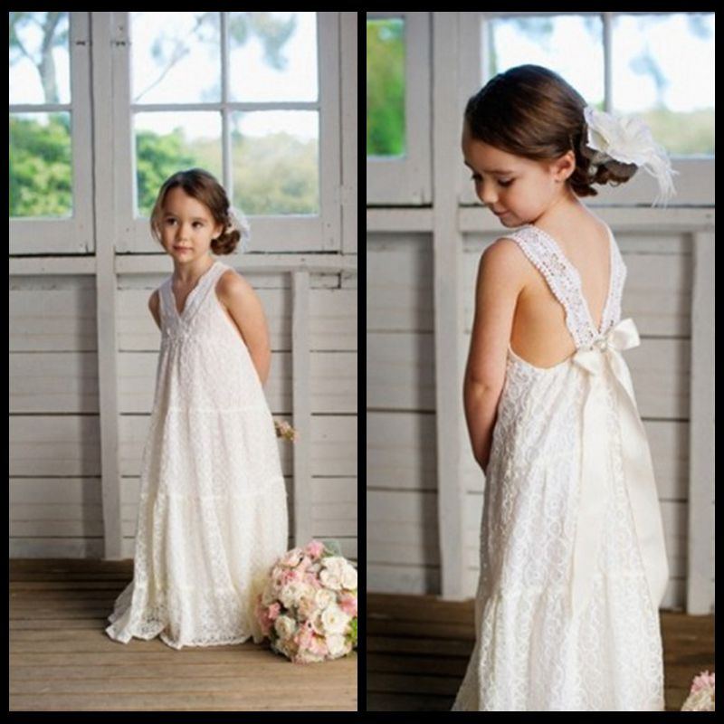 f8a8fc605742a Romantic V-neck Summer Boho Flower Girls Dresses Floor Length Vintage Maxi Ivory  Lace Flower
