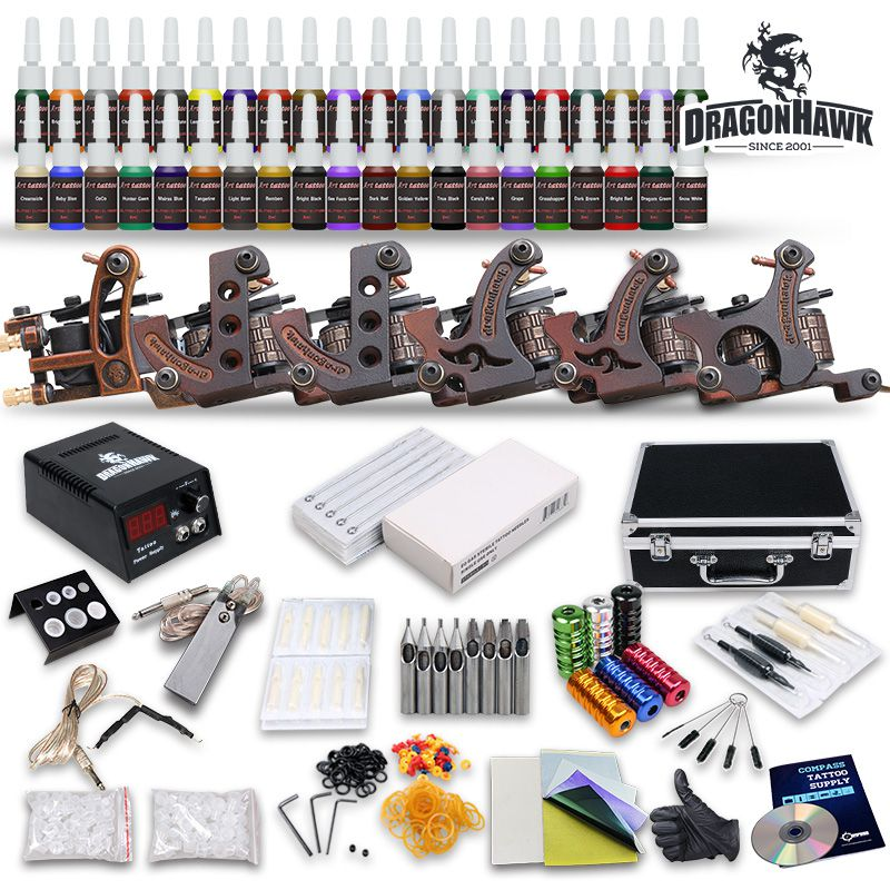 Complete Tattoo Kits 6 Guns Machines 54 Ink Sets Equipment Needle Power Supply disposable grips needles pedal clip cord D187GD-10